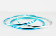 """Three Shades of Blue"" Bangle Bracelet"