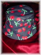 Dark Blue Hat with Red Cherry Print