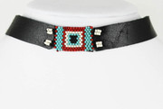 The Square Beaded Leather Choker