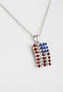 Rhinestone American Flag Necklace