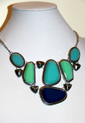 """Blue Glass Mosaic"" Crafted Silver Tone Necklace"