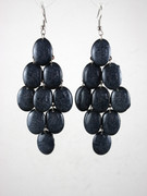 """Gray Stone"" Chandelier Earrings with Large Faceted Drops"