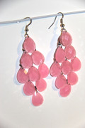 Pink Chandelier Earrings with Large Faceted Drops