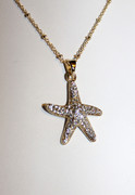 Golden Rhinestone Star Fish Necklace