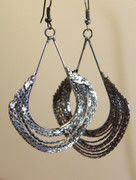 Rough Crafted Silver Chain Chandelier Earrings