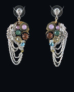 Musette Chandelier Chain Drop Earrings with Multi-Colored Beads