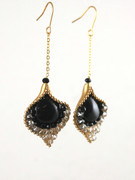 Black Treasure Flower Petal Chain Drop Earrings