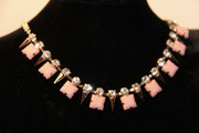 Rhinestones and Spikes Pink Drop Necklace