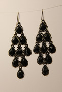 Black Chandelier Earrings with Multi-Faceted Drops