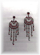 Rhinestone Red Ruby Glam Chandelier Earrings