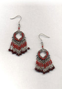 Red Indian Fringe Chandelier Earrings