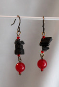 Small Red Drop Earrings with Black Semi-Precious Stone Chips