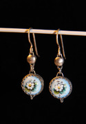 """Daisy on Blue"" Russian Rostov Finift Earrings"