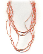 Orange Multi-Row Beaded Necklace.