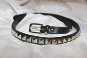Black Leather Belt with Square Pyramid Silver Tone Studs