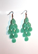 Light Emerald Green Chandelier Earrings with Large Faceted Drops