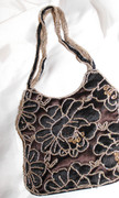 Brown Lace Beaded Handbag