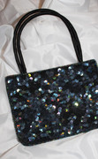Black Jet Iris Sequined Chic Handbag