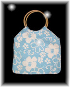 Blue Hibiscus Ring Handle Bag