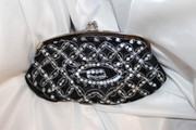 Black Velvet Clutch with Silver Sequence