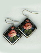 Square Russian Hand-Painted Pink Flower Wooden Earrings