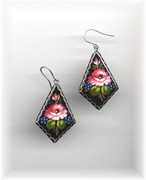Russian Hand-Painted Pink Flower Wooden Earrings