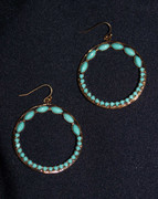 """Turquoise Gold"" Hoop Earrings"