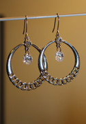 Silver Tone Chain Hoop Earrings with Crystal Drop