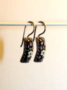 """Scent of the Night"" Small Hand Painted Black Rostov Finift Earrings"