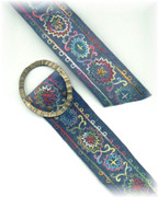 Blue Embroidered Suede Belt