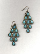 Turquoise Chandelier Earrings with Multi-Faceted Drops
