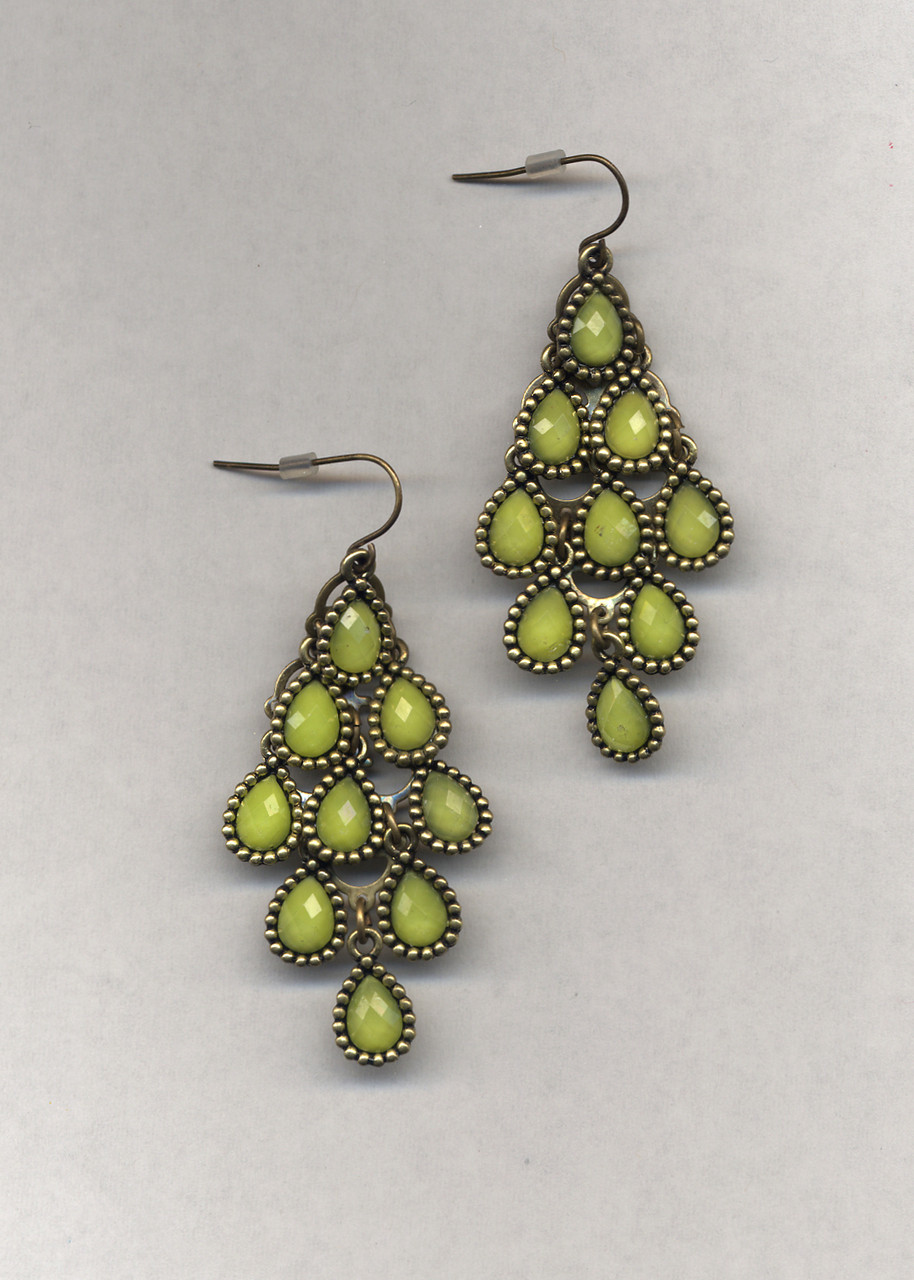 lime green chandelier earrings with multifaceted drops