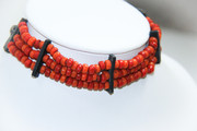 Red Beads and Black Leather Choker