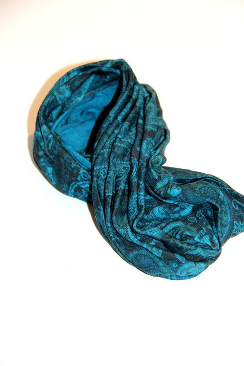 Teal Paisley Yoga Head Wrap