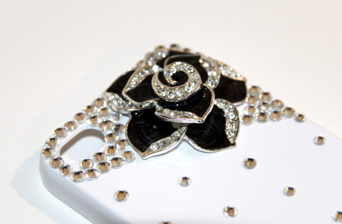White iPhone 4 4S Cell Phone Case with Black Rose Flower