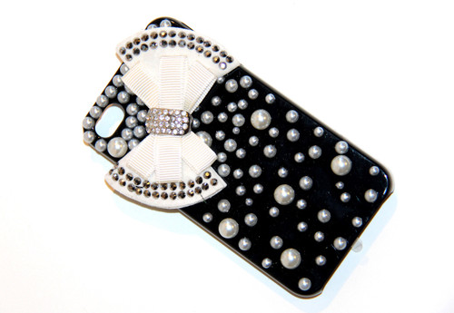 Black iPhone 4 4S Cell Phone Case with Ivory White Bow