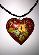 """Yellow Rose"" Dark Red Heart Hand-Painted Russian Necklace"