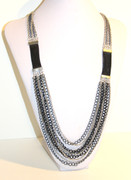 Long black, gray and silver chain multi-row necklace