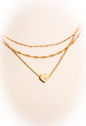 Sliding Heart of Gold Three Layer Necklace.