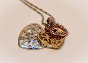 Tri-Color Layered Heart  Pendant Necklace
