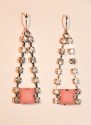 Rhinestone Drop Earrings with Pink STone