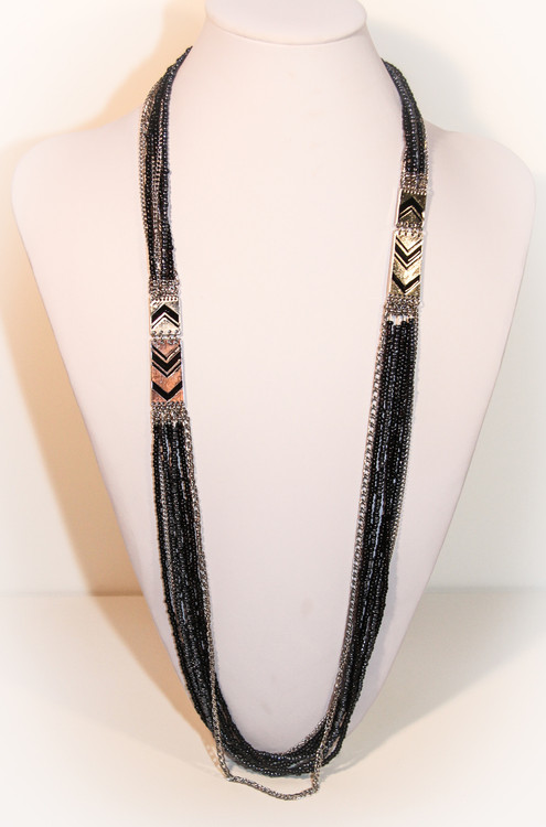 Long Art Deco Style Necklace With Black and Hematite Accents