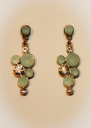 Mint Green Bubble Mosaic Drop Earrings with Rhinestones