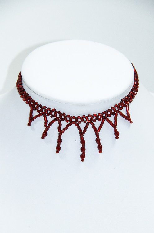 Red Goth Beaded Choker