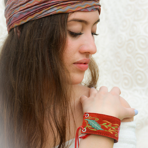 Red embroidered cuff