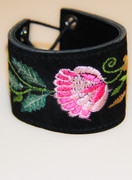 Black Embroidered Suede Cuff