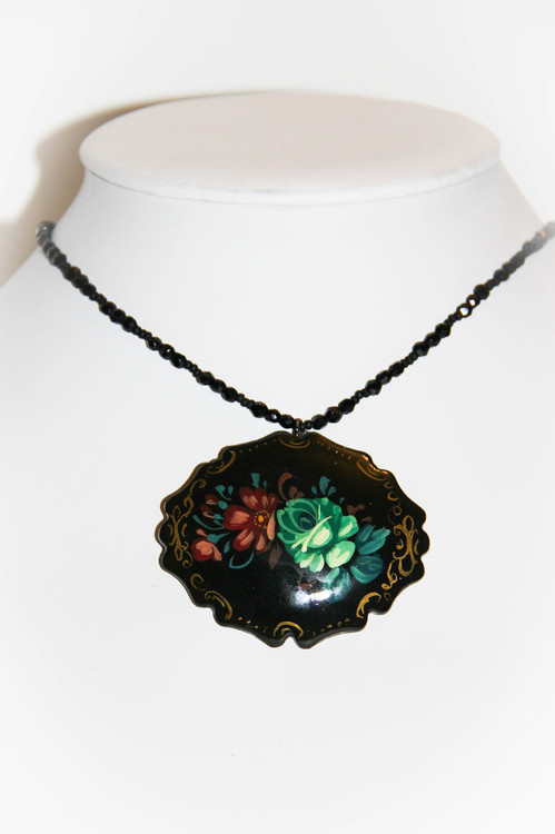 Emerald Green Rose Black Hand Painted Russian Necklace