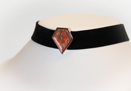 Pink Wonder Woman Black Velvet Stretch Choker