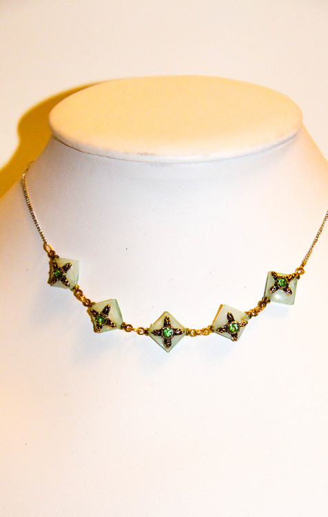 Jade Mint Green Five Stars Chain Necklace