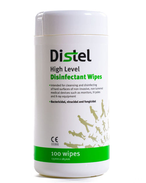 Distel Disinfectant Wipes | Drum of 100 Wipes | Physical Sports First Aid